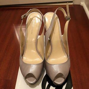Nine West Peep Toe Patent Leather Sling-backs